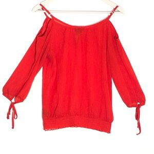 A.Byer long sleeve sheer red goldish blouse
